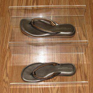 APOSTROPHE Leather Metallic Thongs Flip-Flops 8M